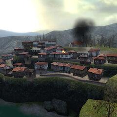 The village burning.