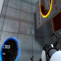 Two portals and the <i>Half-Life 2</i> HUD in Test Chamber 10.
