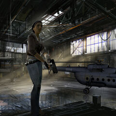 Concept art of Alyx in the helicopter hangar. The Mi-8 has some slight bodywork differences.