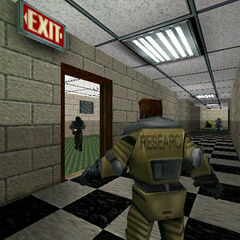 One of the earliest screenshots of <i>Half-Life</i>, showing third person gameplay with Ivan.