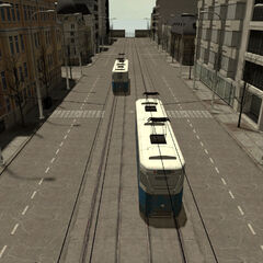 Two trams in the map
