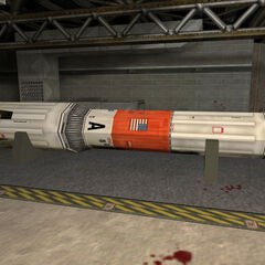 Stored rocket, with its nose removed by the Black Ops.