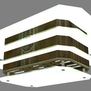 Art Deco chandelier model, seen from the bottom.