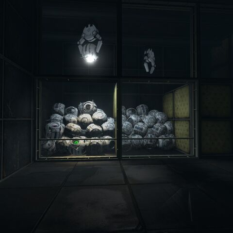 A pile of corrupted cores illuminated by one with its flashlight stuck on. Space, Rick and Fact Core can be seen among them.
