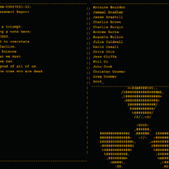 Screenshot of the <i>Portal</i> end credits, featuring the credits, the