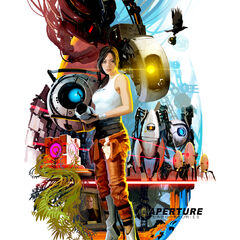 Chell on a 70s style poster for <i>Portal 2</i>.
