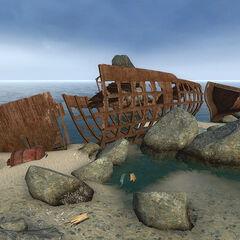 Shipwreck on the beach.