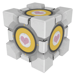 New Companion Cube's skin when placed on a button.