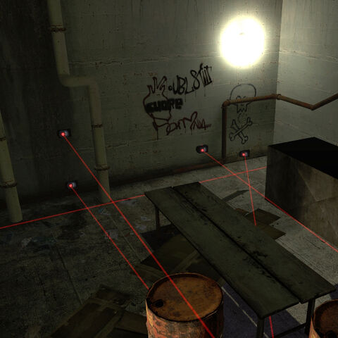 Laser Tripmines deployed in an abandoned City 17 building.