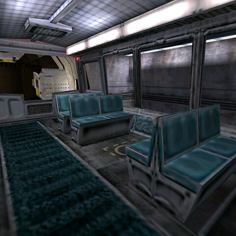 Inside a typical tram in the Black Mesa Transit System.