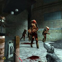 Early Zombies in the early Ravenholm, with the USP Match in use by the player.