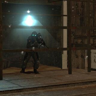 Overwatch Soldier stationed under an Overwatch Sniper nest, firing at Gordon.