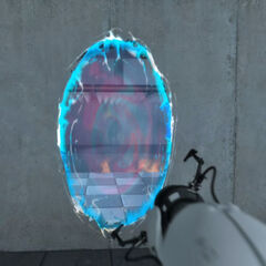 Early blue portal in the <i>Portal</i> trailer.