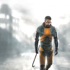 Concept art of Gordon Freeman in the City 17 rubble.
