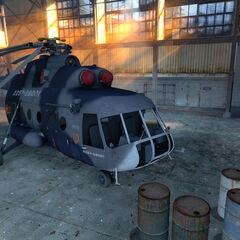 Closer look at the Mil Mi-8 in its hangar.