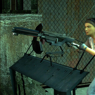 Alyx manning an Emplacement Gun in the Technical Trainstation, idle.