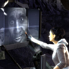 Eli smiling to Alyx from White Forest while she puts her hand on the screen at the foot of the Citadel in <i>Episode One</i>.