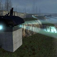 Emplacement Gun lights on the beaches before Nova Prospekt.