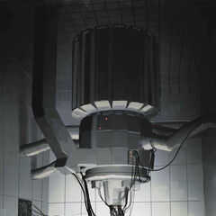 Concept art for GLaDOS, similar to the final version.