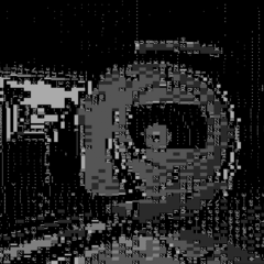 ASCII art image of Wheatley being held by Chell.