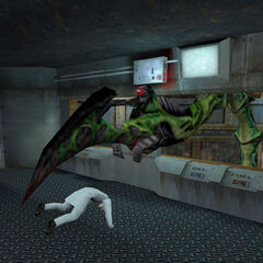 Tentacle taking away a scientist in Silo D.