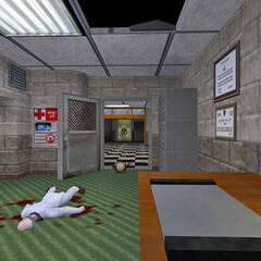 A Headcrab and a dead scientist in the Black Mesa Office Complex.