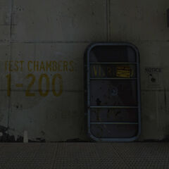 The sealed door to Test Chambers 1 to 200.