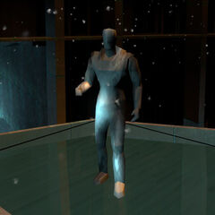 Gordon's single-textured placeholder model seen in <i>Half-Life 2: Episode 1</i> when using the