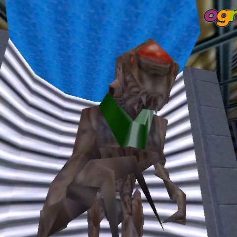Close-up view of an Alien Slave in <i>Half-Life</i> demonstrational map.