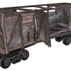 Wrecked boxcar.