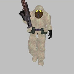 A white walking Sniper Elite model (Using its older model).