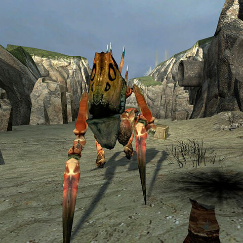 An Antlion Guard attacking Gordon near the Vortigaunt Camp.