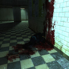An already deceased soldier found by the player.