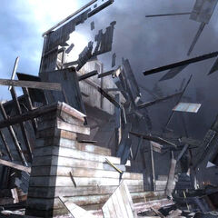 The lodge being destroyed by the same Strider in the <i>Episode Two</i> trailer.