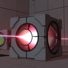 Closeup of a Weighted Pivot Cube redirecting a Thermal Discouragement Beam.