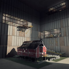 Red barn in a large hangar, revealed during the <i>PotatoFoolsDay</i> ARG.
