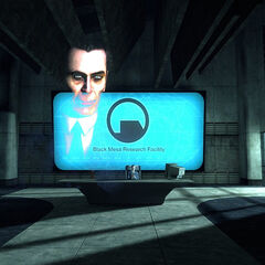 G-Man's <i>Episode Two</i>s monologue at Black Mesa, with the logo and world map behind him.