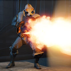 The Suppressor firing his Gatling Gun.