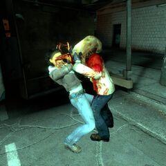 Alyx fighting a Zombie.