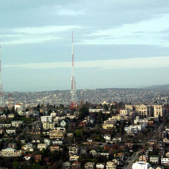 The three radio towers of Queen Anne, viewed from the Space Needle in Seattle.
