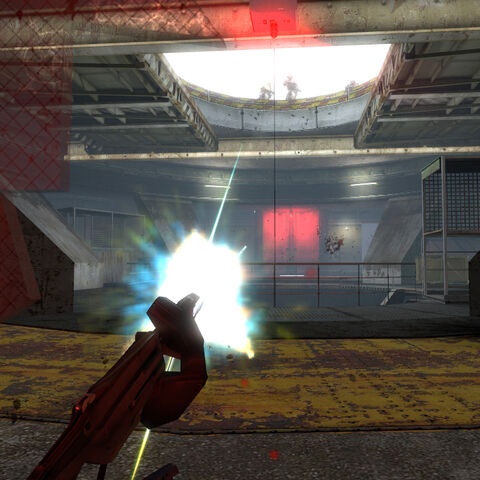 Firing at Overwatch forces with the Emplacement Gun while the hatch of White Forest's silo 2 is closing.