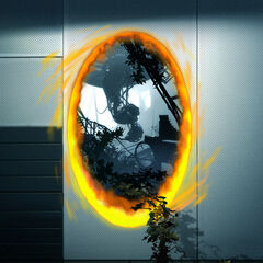 Concept art of GLaDOS in her ruined chamber, seen through an orange portal placed in a more recent area of the test chambers, with vegetation going through the portal.