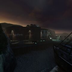 Island view at dawn when the player arrives at the surface again.