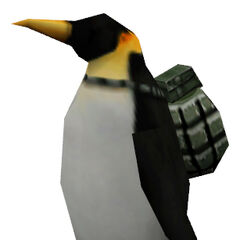 Penguin with an Mk 2 attached to its back.
