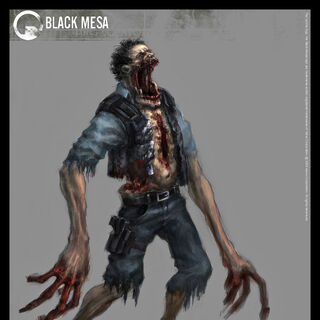 Concept art for the Zombie security guard.