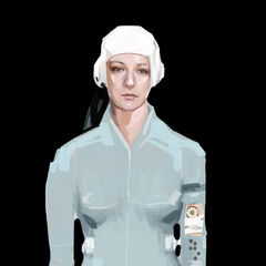 Concept art for Chell in her new outfit, holding the ASHPD.
