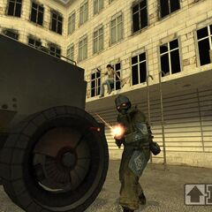Early <i>Episode One</i> screenshot with an alternate shotgun soldier. Same skin is showed in <i><a href=