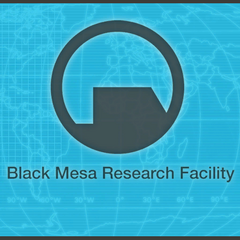 The Black Mesa name and logo on a world map seen in a Black Mesa lobby during G-Man's <i>Episode Two</i>s monologue at Black Mesa. The only difference with the one seen in documents is that it uses the Helvetica font instead of Arial.