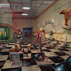The previous concept art image featured in an early <i>Office Complex</i> screenshot, in the inside cover of the original version of <i>Half-Life</i>, here signed by the Valve team.