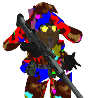 The Sniper in the playable <i>Half-Life 2</i> Beta files (with improperly rendered transparency, hence the strange colors), originally designed by Ted Backman.